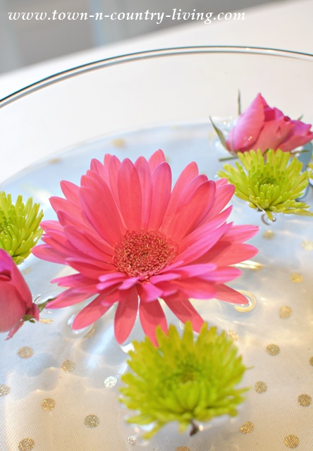 Floating flowers for centerpiece