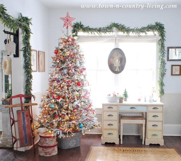 Vintage Style Christmas Tree in a Circa 1875 Farmhouse