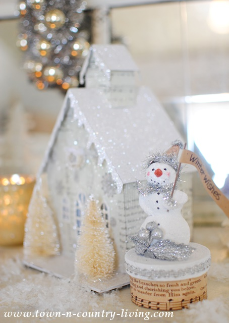 Paper Clay Snowman and Glitter House