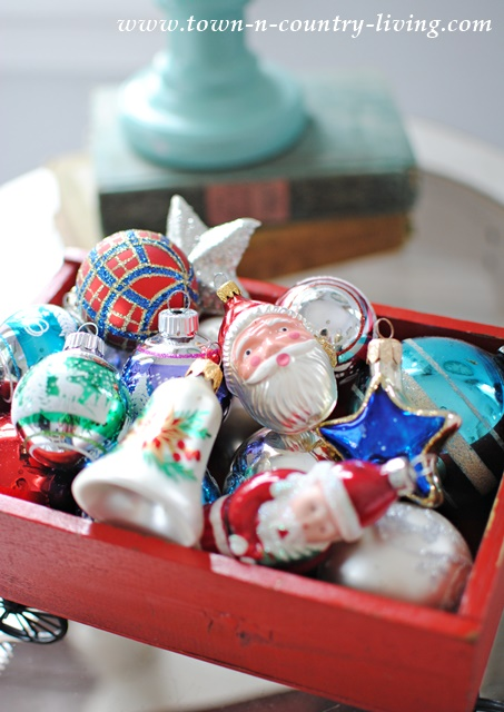 Red Wagon filled with Vintage Christmas Ornaments