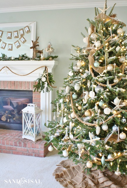 coastal style christmas tree - Christmas Tree Country Decorating Ideas