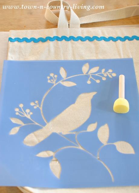 Bird Stencil is applied to canvas bag to create a flea market shopping bag.