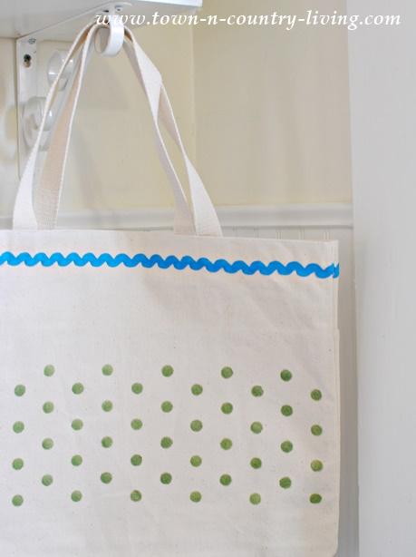 Polka Dot Stenciled Canvas Bag