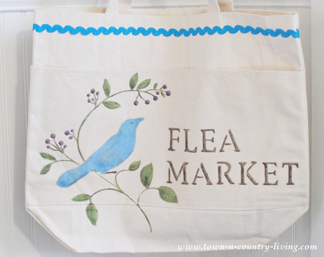 Stenciled Canvas Flea Market Bag