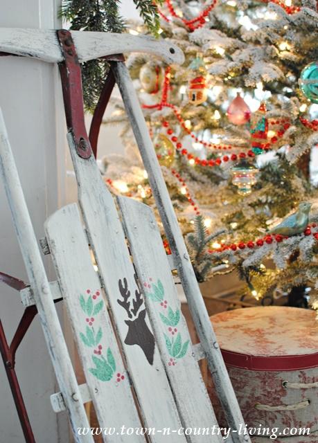 DIY Stenciled Christmas Sled