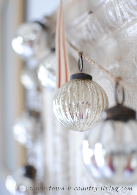 Christmas Garland of Mercury Glass Ornaments