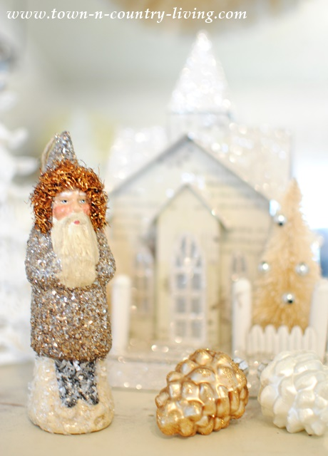 Glitter Snowman with Glitter Putz House