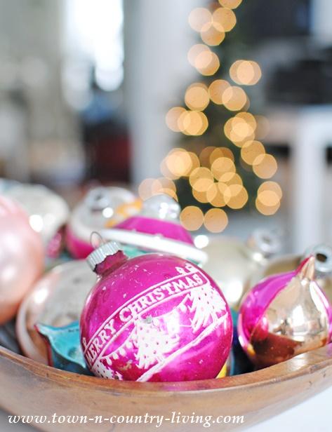 Dough Bowl of Vintage Christmas Ornaments