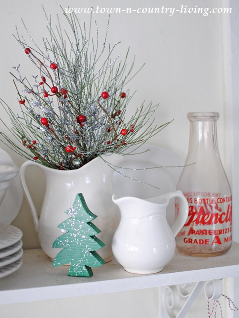 Christmas Decorating Ideas - Fill White Ironstone Pitcher with Greens and Berries