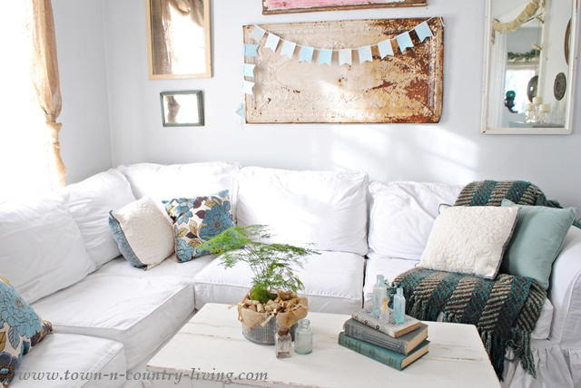 White Sectional Sofa in Farmhouse Family Room