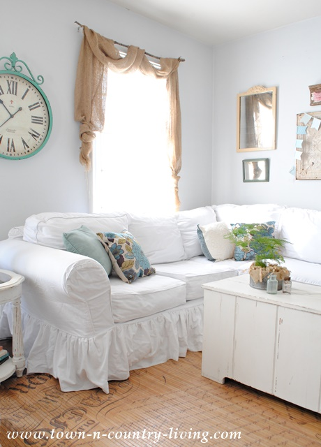 White Sectional in Farmhouse Family Room