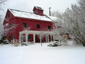 Snowy Red Barn Converted to House