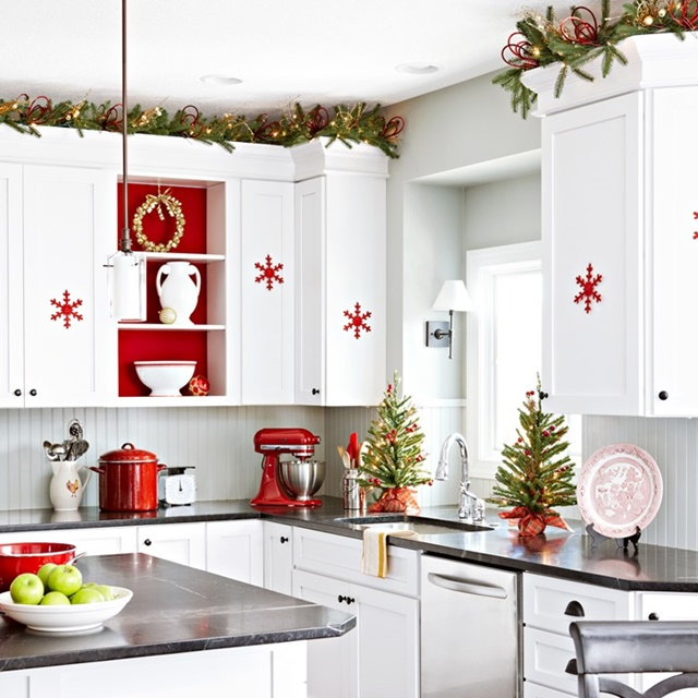 Red and white scandinavian christmas town country living - Red and white kitchen decor ...