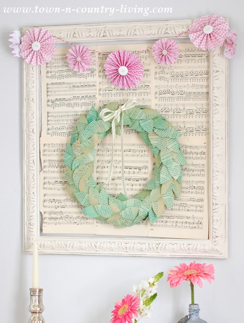 DIY Color Washed Book Page Wreath