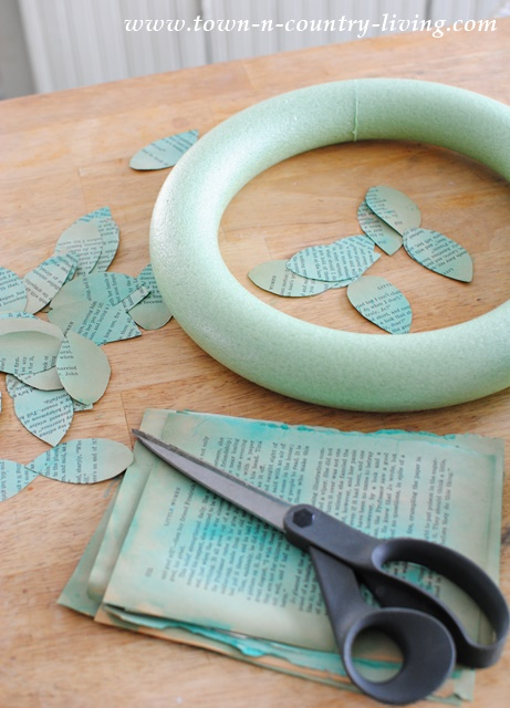 How to create a color washed book page wreath
