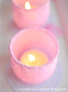 DIY Pink Frosted Votive Candle Holders