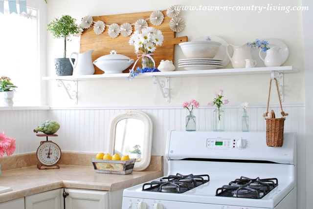 Open Shelving In A Farmhouse Kitchen