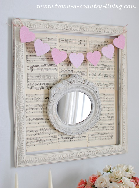 Paper Heart Banner with Shabby Chic Frame and Mirror