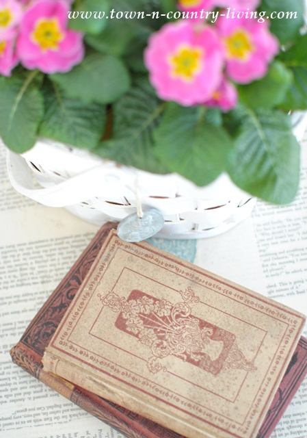 Vintage Books with basket of primroses