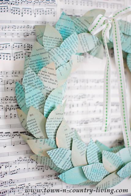 DIY Color Washed Book Page Wreath