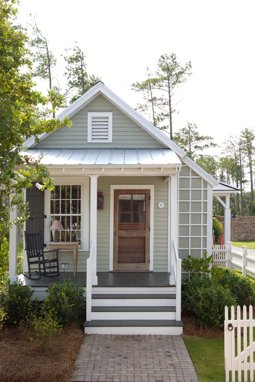gray small house with porch - Cottage Houses Photos