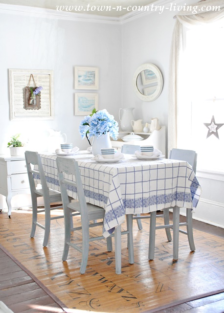 Spring Dining Room In Blue And White Town Country Living