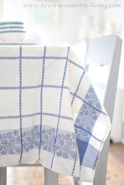 Blue and White Vintage Tablecloth