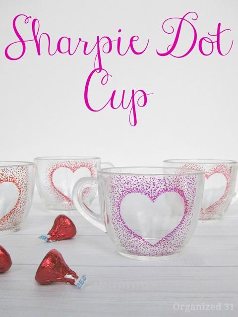Sharpie Dot Heart Cups