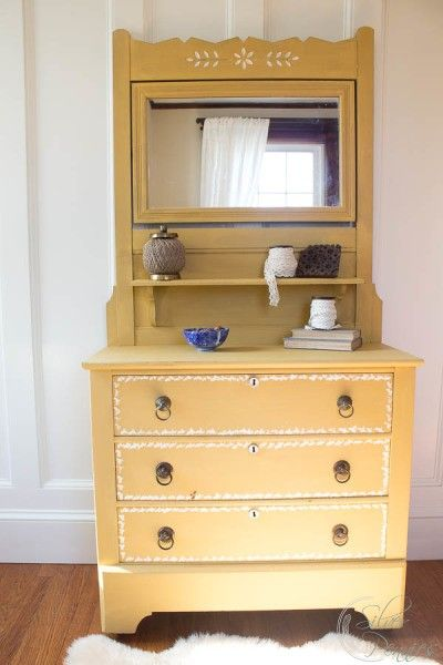 Dresser painted in yellow milk paint