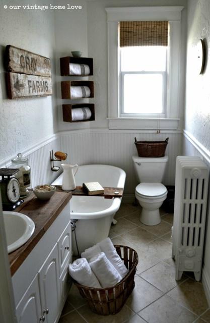 Claw foot tub in a farmhouse bathroom