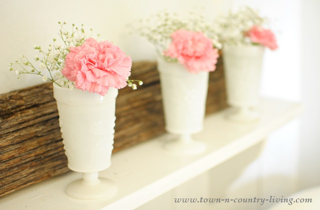 Carnations in White Milk Glass Tumblers