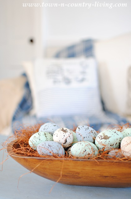 Wooden Dough Bowl with Hand Painted Eggs