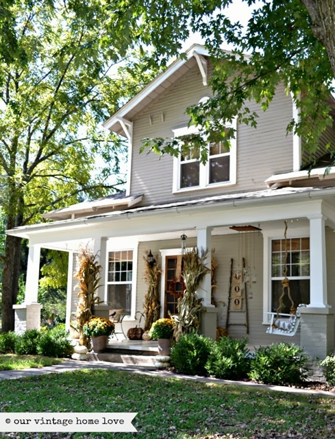 Charming home tour our vintage home love town for Farmhouse exterior paint colors