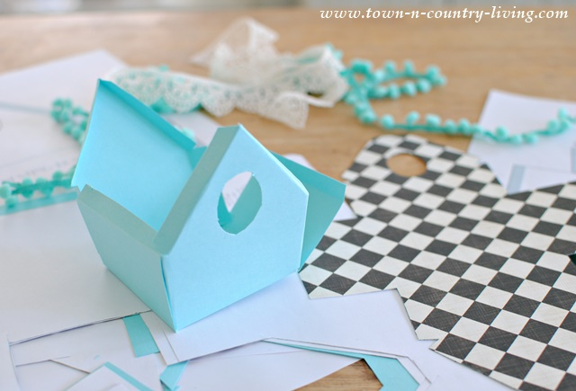 How To Make Paper Birdhouses Using Scrapbook And Decorative Trim