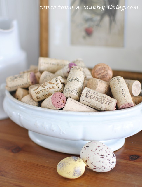 Display your wine corks in a white ironstone tureen for a pretty addition to any corner of your home.