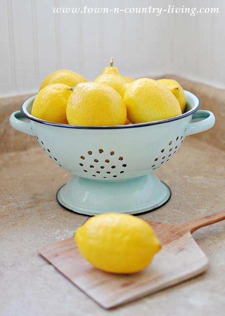 Lemons in Aqua Enamelware Colander