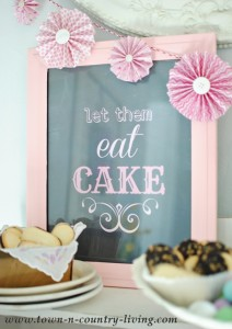 """Old Frame is painted and turned into """"Let them eat cake"""" sign for a dessert bar."""