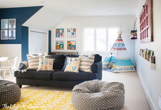 Charming home tour the lilypad cottage town country for Playroom living room ideas
