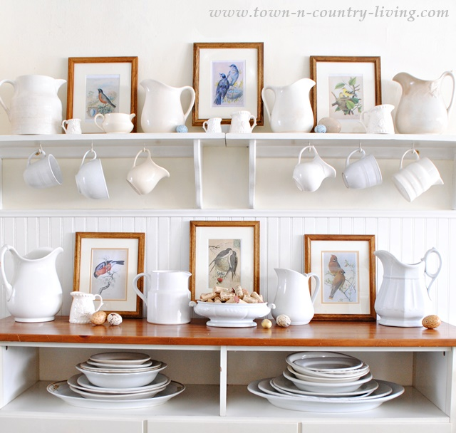 Bird Prints with white ironstone makes a pretty spring vignette for your home. Download the free printable to create your own bird prints.