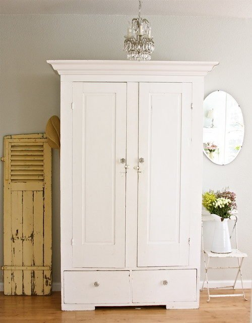 white armoire, cupboard, storage solution, farmhouse style, shabby chic, white furniture
