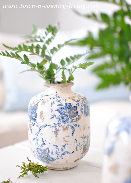 Blue and White Transferware vase