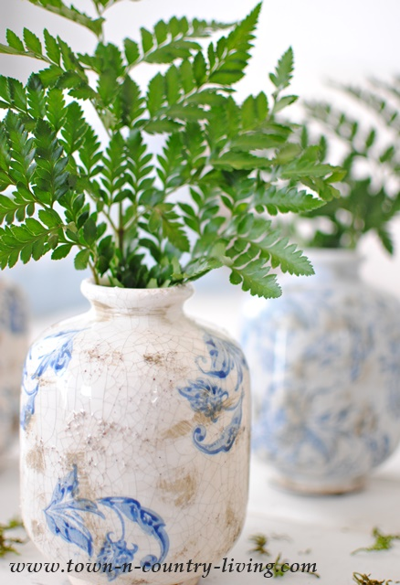Blue and White Transferware Vases