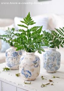 Blue and White Transferware Vases
