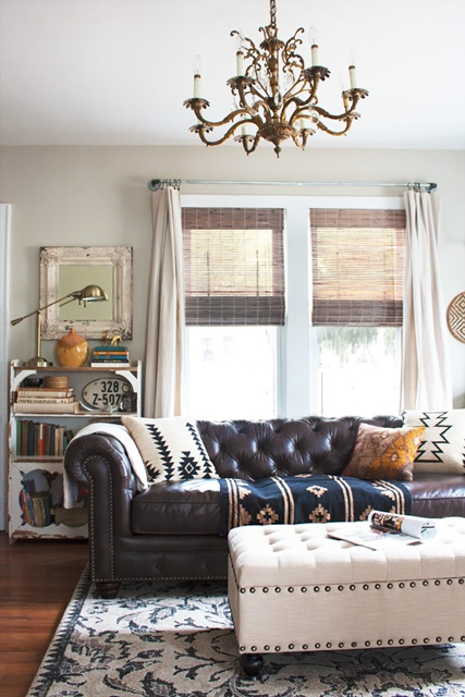 Boho Chic Living Room with Leather Chesterfield Sofa