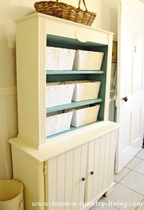 Painted Bathroom Cabinet in Old White and Provence Blue