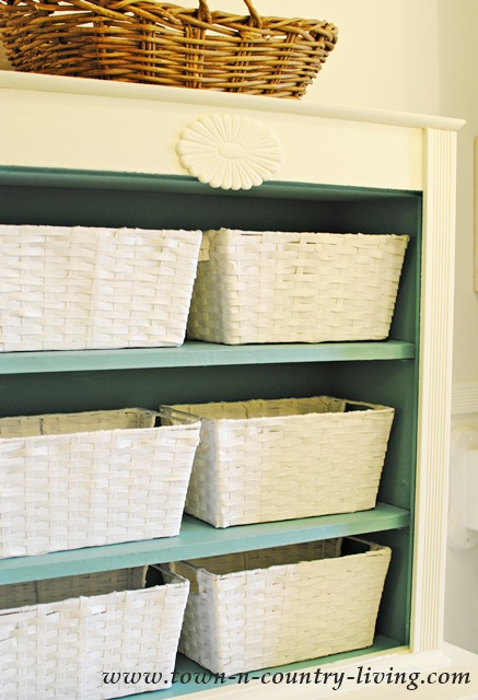 Store toiletries and sundries in pretty white bathroom baskets