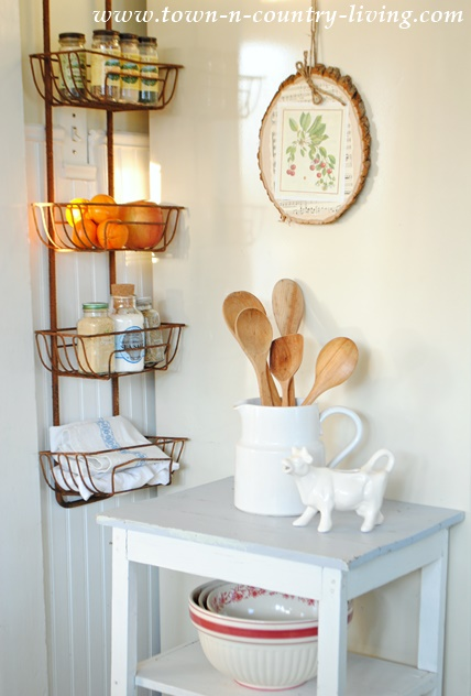 Wall Basket Hanger in Farmhouse Kitchen