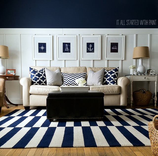 White and Navy Living Room with Bold Geometric Rug