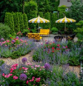Messy flower gardens make an inviting back yard.