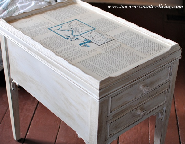 Decoupaged End Tables Using Book Pages